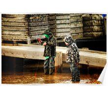 Crabbing at Southwold Poster