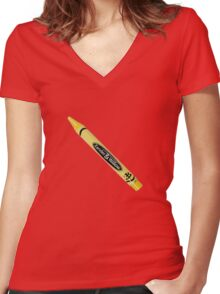 Buffy the Vampire Slayer - Yellow Crayon Women's Fitted V-Neck T-Shirt