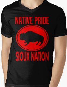 NATIVE PRIDE-SIOUX NATION Mens V-Neck T-Shirt