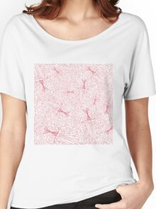 Hand drawn doodle seamless pattern with pink hearts Women's Relaxed Fit T-Shirt