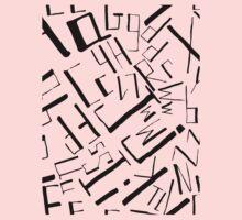 Hand drawn black alphabet. Doodle pattern of typographic symbols One Piece - Long Sleeve