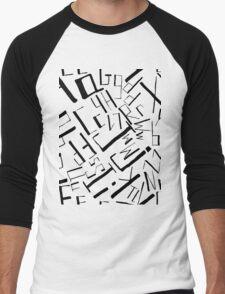 Hand drawn black alphabet. Doodle pattern of typographic symbols Men's Baseball ¾ T-Shirt