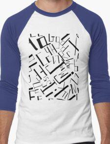 Hand drawn black alphabet. Doodle pattern of typographic symbols Men's Baseball ¾ T-Shirt