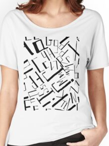 Hand drawn black alphabet. Doodle pattern of typographic symbols Women's Relaxed Fit T-Shirt