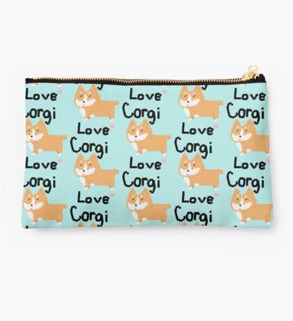 Pixel Corgi Love Studio Pouch