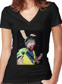 PSYCHO SCREAMING  RAVE RABBIT Women's Fitted V-Neck T-Shirt