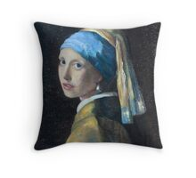 Girl With a Pearl Earring Rendition Throw Pillow