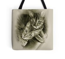 Bengal Cat Couple, Pencil Drawing Tote Bag