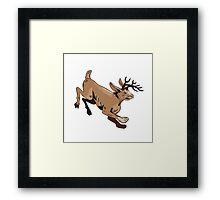Jacklope Jumping Side Etching Framed Print