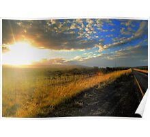 Sunset at side of Road - N2 road to Hogsback, South Africa Poster