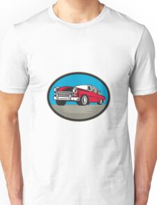 Vintage Classic Car Low Angle Woodcut Unisex T-Shirt