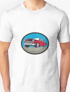 Vintage Classic Car Low Angle Woodcut T-Shirt