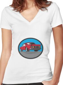 American Vintage Muscle Car Rear Woodcut Women's Fitted V-Neck T-Shirt