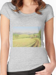 Tuscan Farmhouse, Tuscany, Italy Women's Fitted Scoop T-Shirt