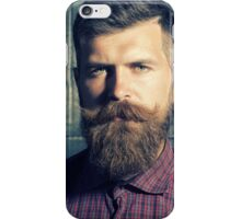 man with a beard, a pair of scissors and a beautiful view iPhone Case/Skin