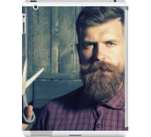 man with a beard, a pair of scissors and a beautiful view iPad Case/Skin