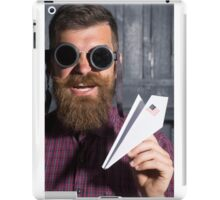 bearded man in sunglasses with a paper airplane iPad Case/Skin