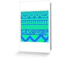 pixel mess blue green Greeting Card