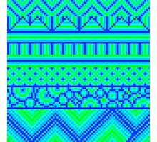 pixel mess blue green Photographic Print