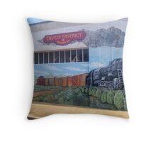 McComb Depot District Mural Throw Pillow