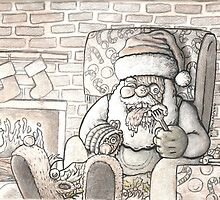 "Book illustration for JOHNNY X. GRAVES'  ""X MAS STALKINGS"" by ACProsser"