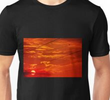 Vibrant sunset (and tiny bird) Unisex T-Shirt