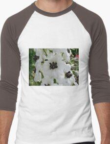 Beautiful black and white flower Men's Baseball ¾ T-Shirt