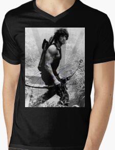 Rambo Stallone Autographed Photo B/W 1980's Mens V-Neck T-Shirt