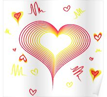 LOVE-Wireframe Warped Heart Poster