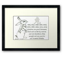 Daily Doodle 17- Zodiac - Chinese Zodiac-Rabbit Framed Print