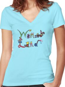 Characters of Wonder Land Women's Fitted V-Neck T-Shirt