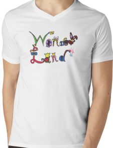 Characters of Wonder Land Mens V-Neck T-Shirt