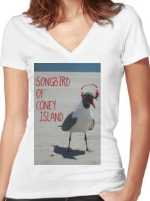 Coney Island Songbird Women's Fitted V-Neck T-Shirt
