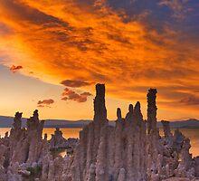 Mono Lake CA Sunset on Fire by photosbyflood
