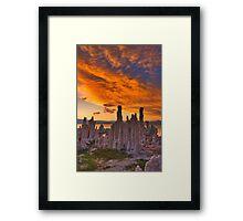Mono Lake CA Sunset on Fire Framed Print