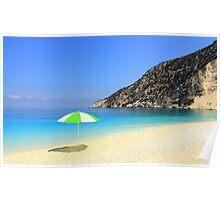 Sun, Sea and Shade - Myrtos Beach Poster
