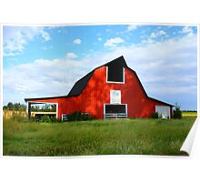 Red Barn & Shadows Poster