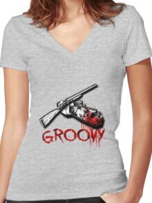 Groovy  Women's Fitted V-Neck T-Shirt
