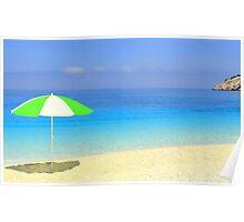 Sun, Sea, Shade and Shadow - Myrtos Beach Poster