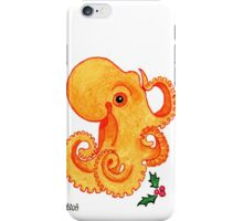 2013 Holiday ATC 9 - Orange Octopus and Holly iPhone Case/Skin