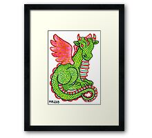 2013 Holiday ATC 23 - Red and Green Dragon Framed Print