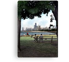 couple on a bench, chicago  Canvas Print