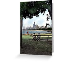 couple on a bench, chicago  Greeting Card