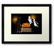 Halloween Deal .. the ghosts try to sell the pumpkin Framed Print