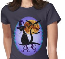 Bewitching Black Kitty Oval Womens Fitted T-Shirt