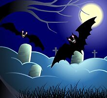 The beauty of the bats in the moon light over the grave yard	 by tillydesign