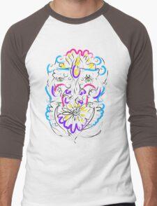 Retro-Psychedelic Flowers Men's Baseball ¾ T-Shirt