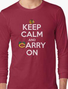 Keep Calm Carry On Blackhawks Long Sleeve T-Shirt