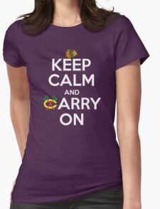 Keep Calm Carry On Blackhawks Womens Fitted T-Shirt