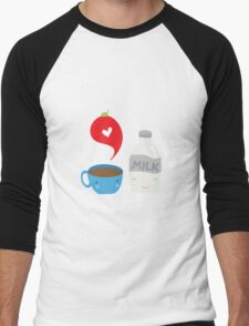 Coffee loves milk Men's Baseball ¾ T-Shirt